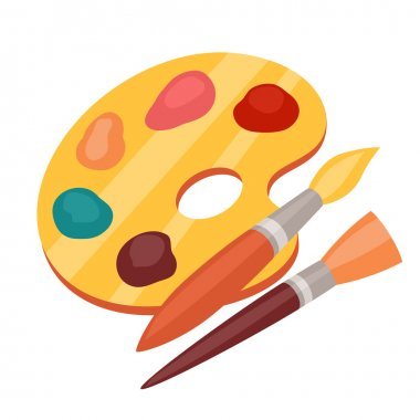 Art color palette with paints and brushes.