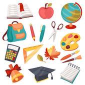 školy a vzdělání ikony, symboly, objekty sada.
