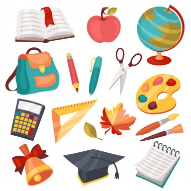 School and education icons, symbols, objects set. stock vector