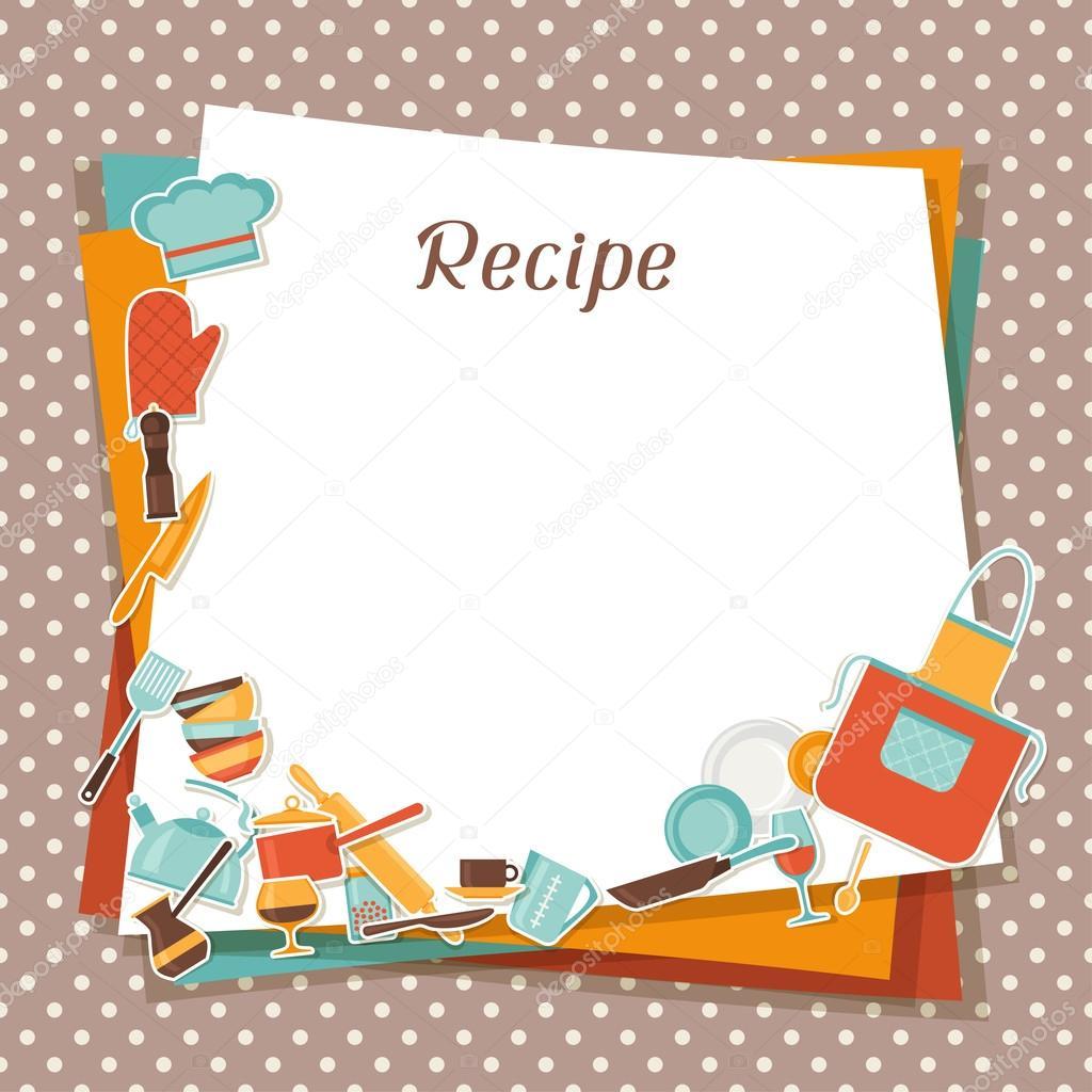 Fondo receta con utensilios de cocina y restaurante for Utensilios de cocina fondo