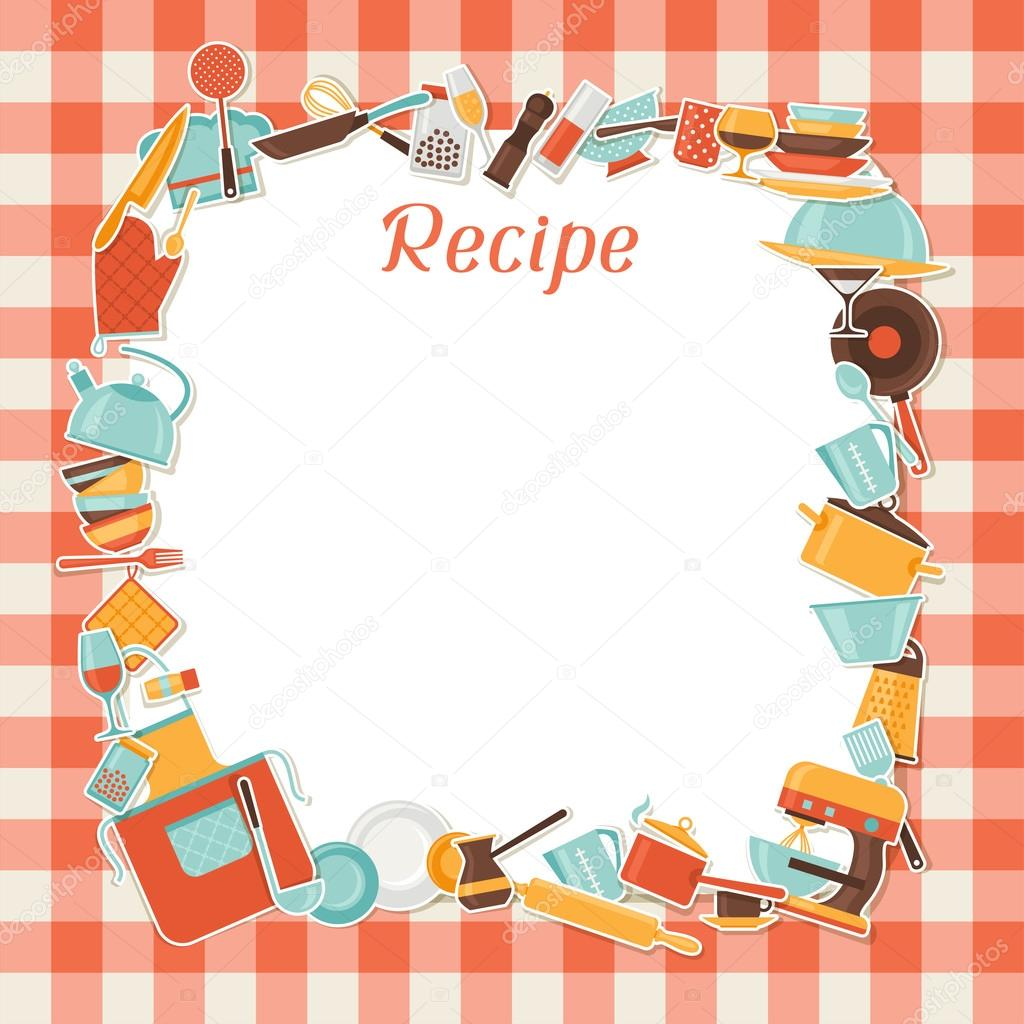 Restaurant Kitchen Illustration recipe background with kitchen and restaurant utensils. — stock