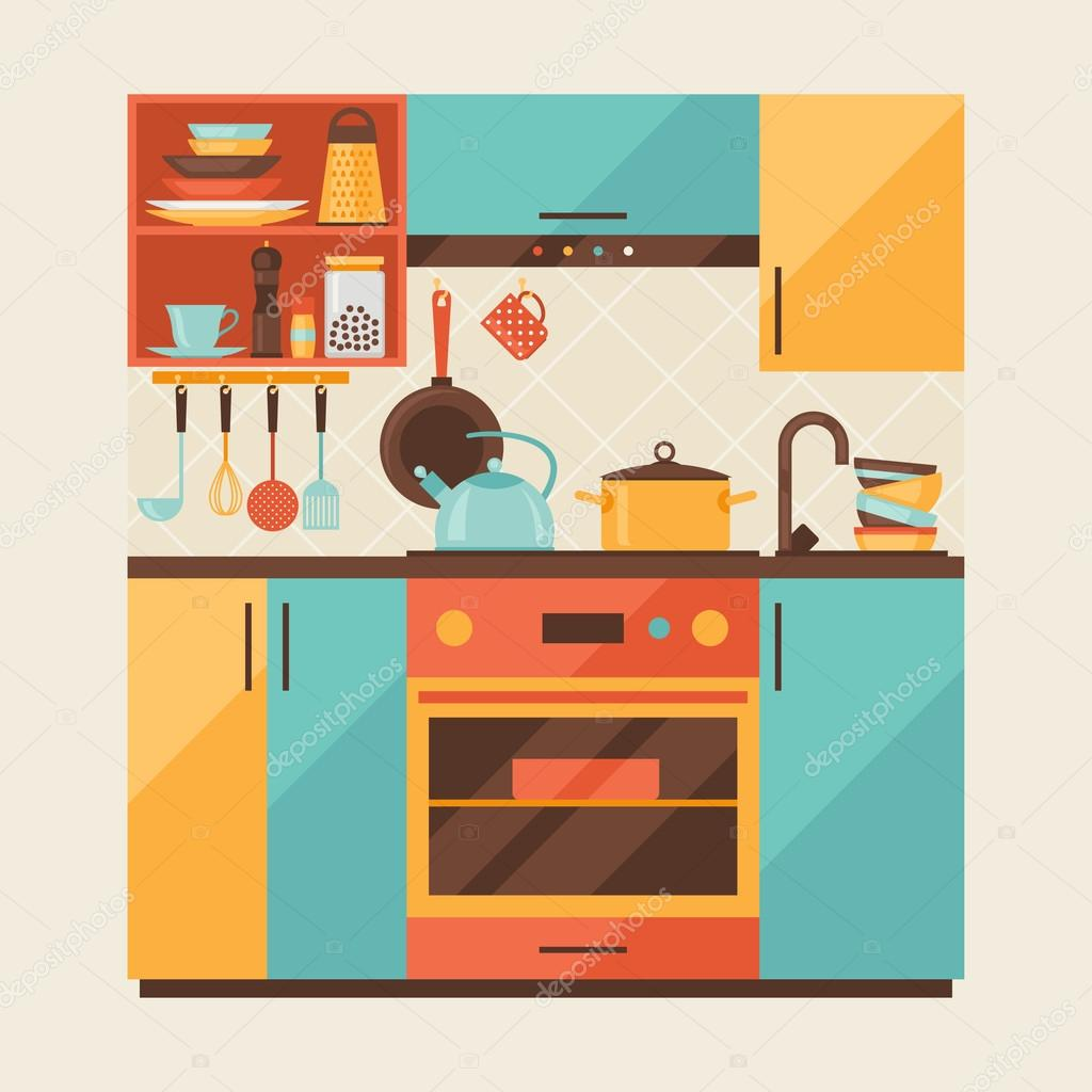 Retro Kitchen Illustration: Card With Kitchen Interior And Cooking Utensils In Retro Style.