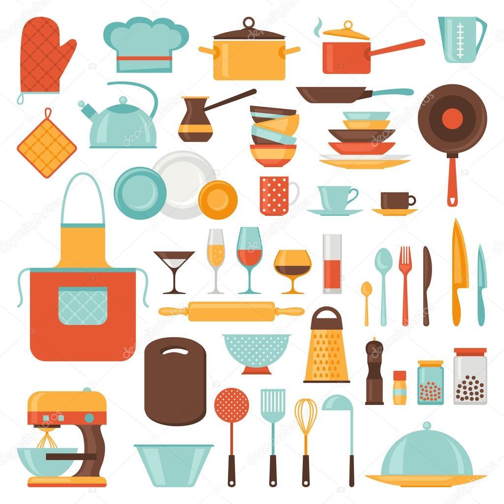 Conjunto De Iconos Restaurante Y Cocina De Utensilios