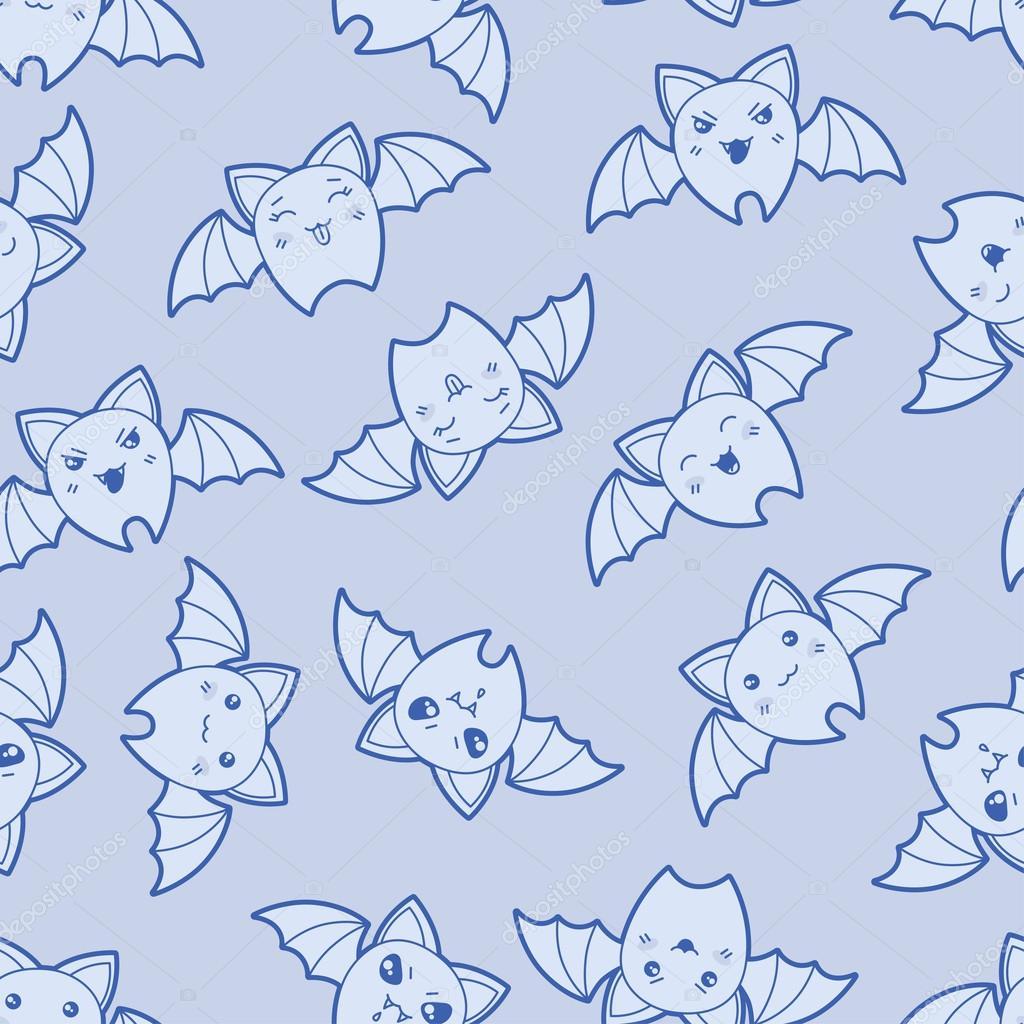 Seamless kawaii cartoon pattern with cute bats.