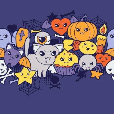 Seamless halloween kawaii pattern with cute doodles.