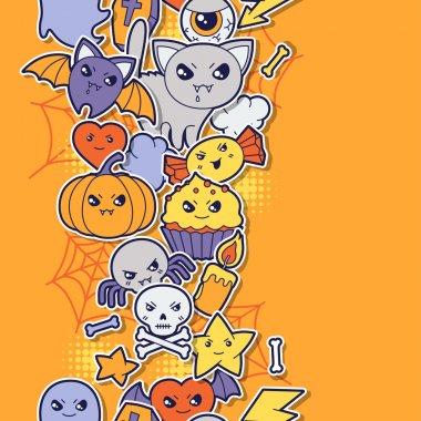 Seamless halloween kawaii pattern with sticker cute doodles.