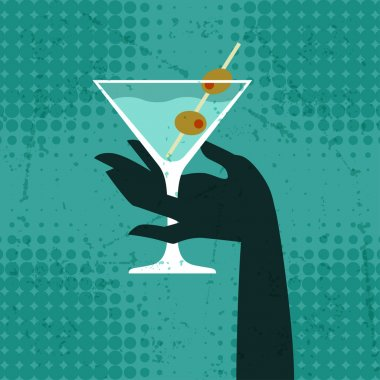 Illustration with glass of martini and hand.