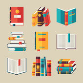 Fotografie Set of book icons in flat design style.