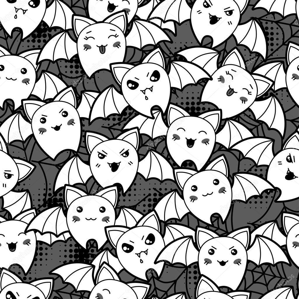 Sans couture mod le de dessin anim kawaii halloween avec - Modele dessin chauve souris ...