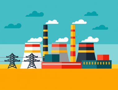 Illustration of industrial power plant in flat style.