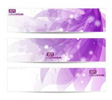 Set of three banners, abstract headers with blots