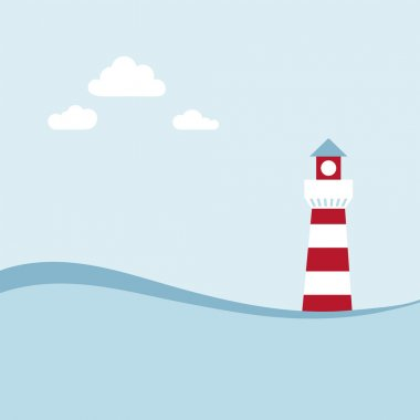 Lighthouse on the sea fairy shore.