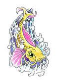 Photo Hand drawing of koi carp
