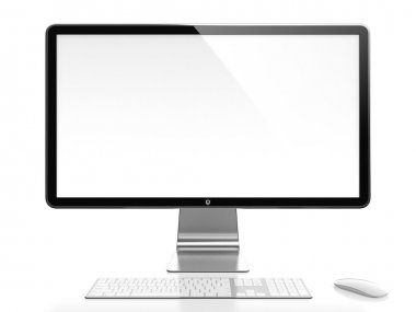 Computer monitor with white blank screen isolated on white background stock vector