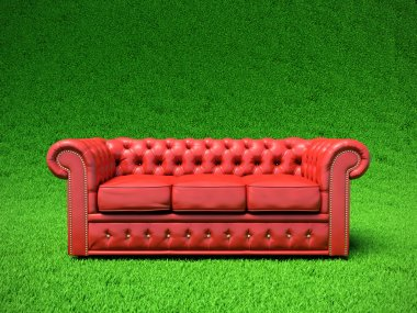Red leather sofa.