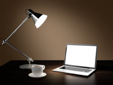 Computer generated image of laptop, desk lamp, and cup of coffee in dark room on wooden table stock vector