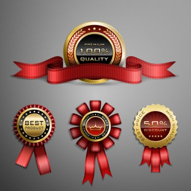 Vector set of red award ribbons and golden medals clip art vector