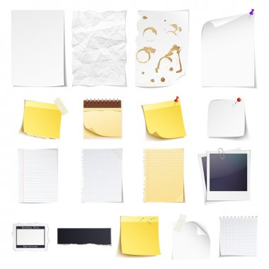 Design elements Notebook, simple white paper, grungy torn paper, lined and squared notepad pages, polaroid photo frame, news paper cut and sticky notes isolated on white background. clip art vector