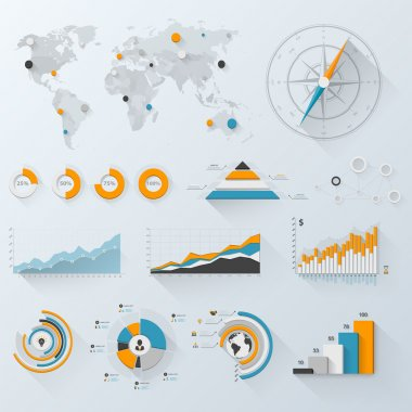 Design elements. Vector illustration of business infographics. Set of 3D infographics with long shadow. stock vector