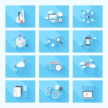 Vector illustration concept of SEO optimization, data analysis and storage, cloud computing and program coding isolated on blue background with long shadow. stock vector
