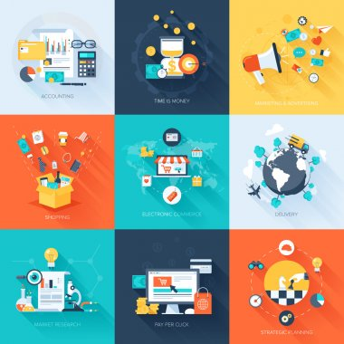 Vector collection of flat and colorful business and finance concepts with long shadow. Design elements for web and mobile applications. stock vector