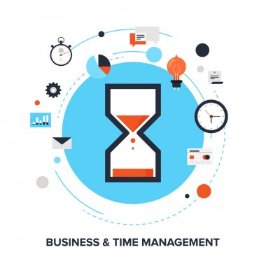 Vector illustration of business and time management flat design concept. stock vector