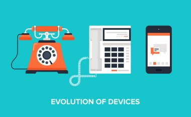 Flat vector illustration of evolution of communication devices from classic phone to modern mobile phone. clip art vector