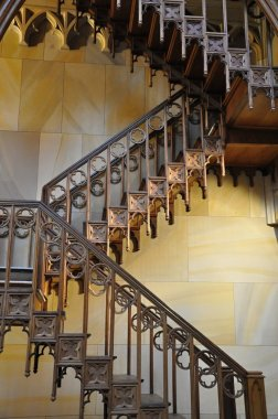 Decorated wooden stairs
