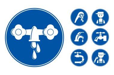 Blue Faucet Tap Icons Set
