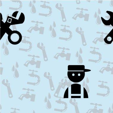 Black Plumber Icons Seamless pattern