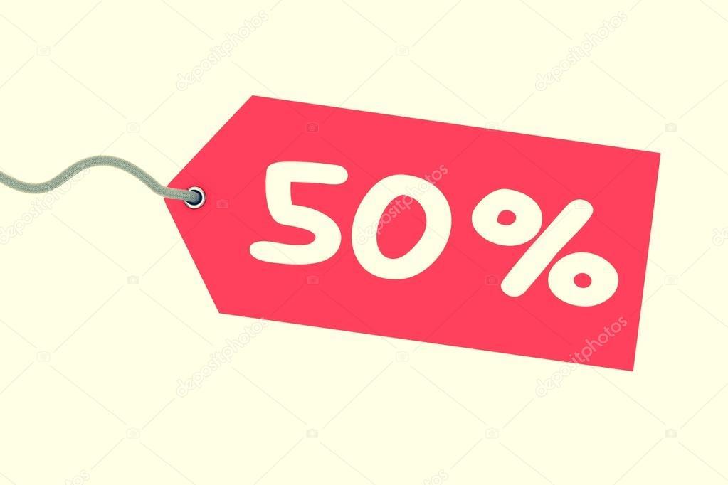 Preisschild 50 Prozent Rote Preisschild Isoliert Stockfoto