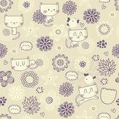 Vektor süße nahtlose Blumenmuster mit lustigen Katzen und Vögel