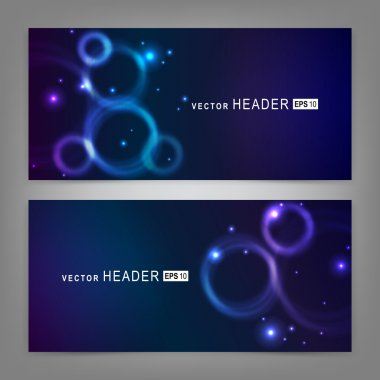 Abstract colorful glowing circles. Website header or banner set