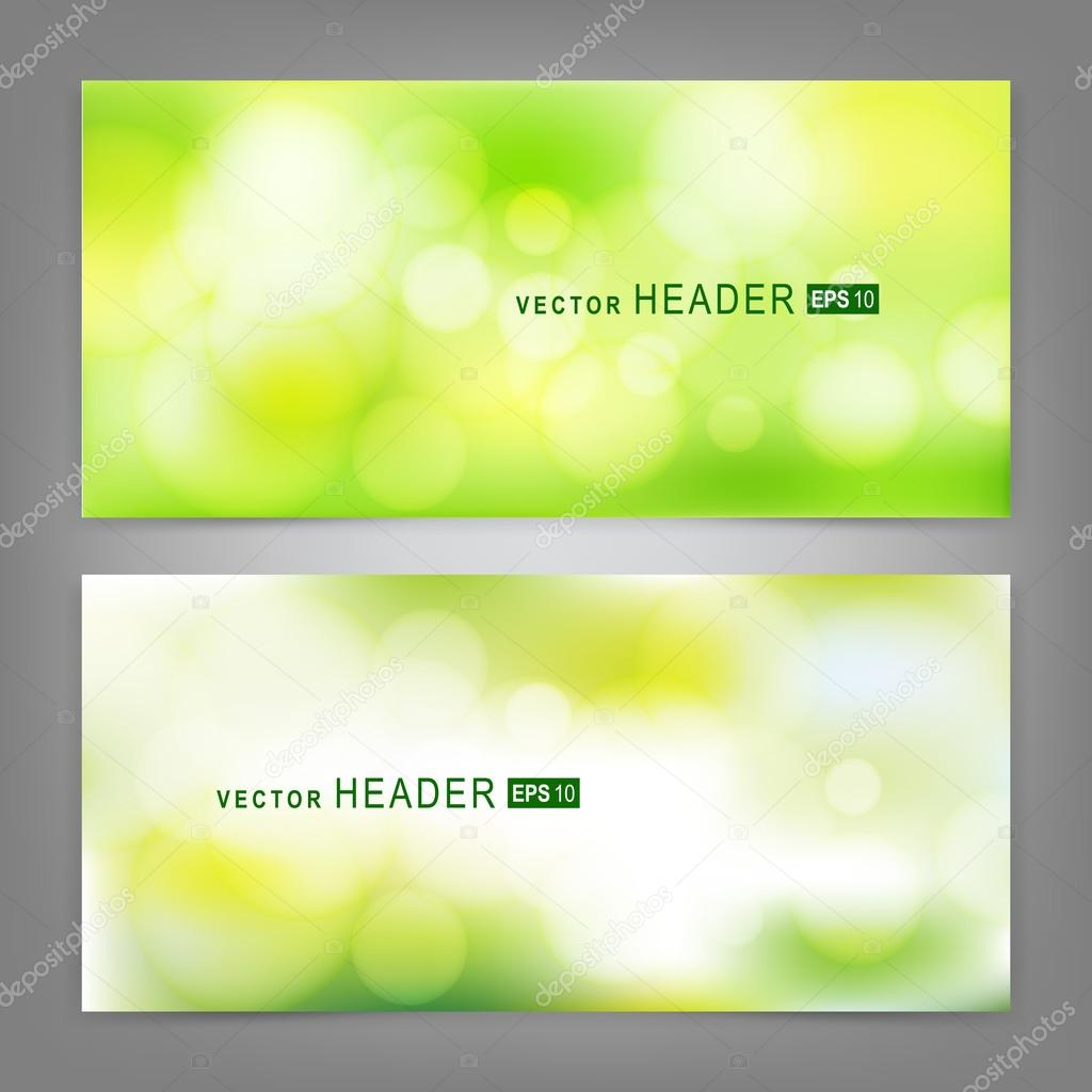 Set of vector banners with beautiful spring forest bokeh
