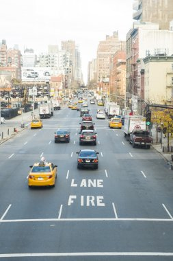 NEW YORK, US - NOVEMBER 23: High angle shot of busy tenth street
