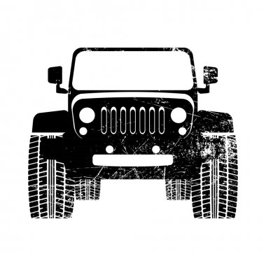 Grunge illustration of SUV car