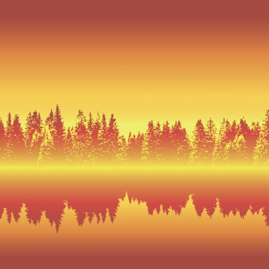 Horizontal seamless forest with reflection