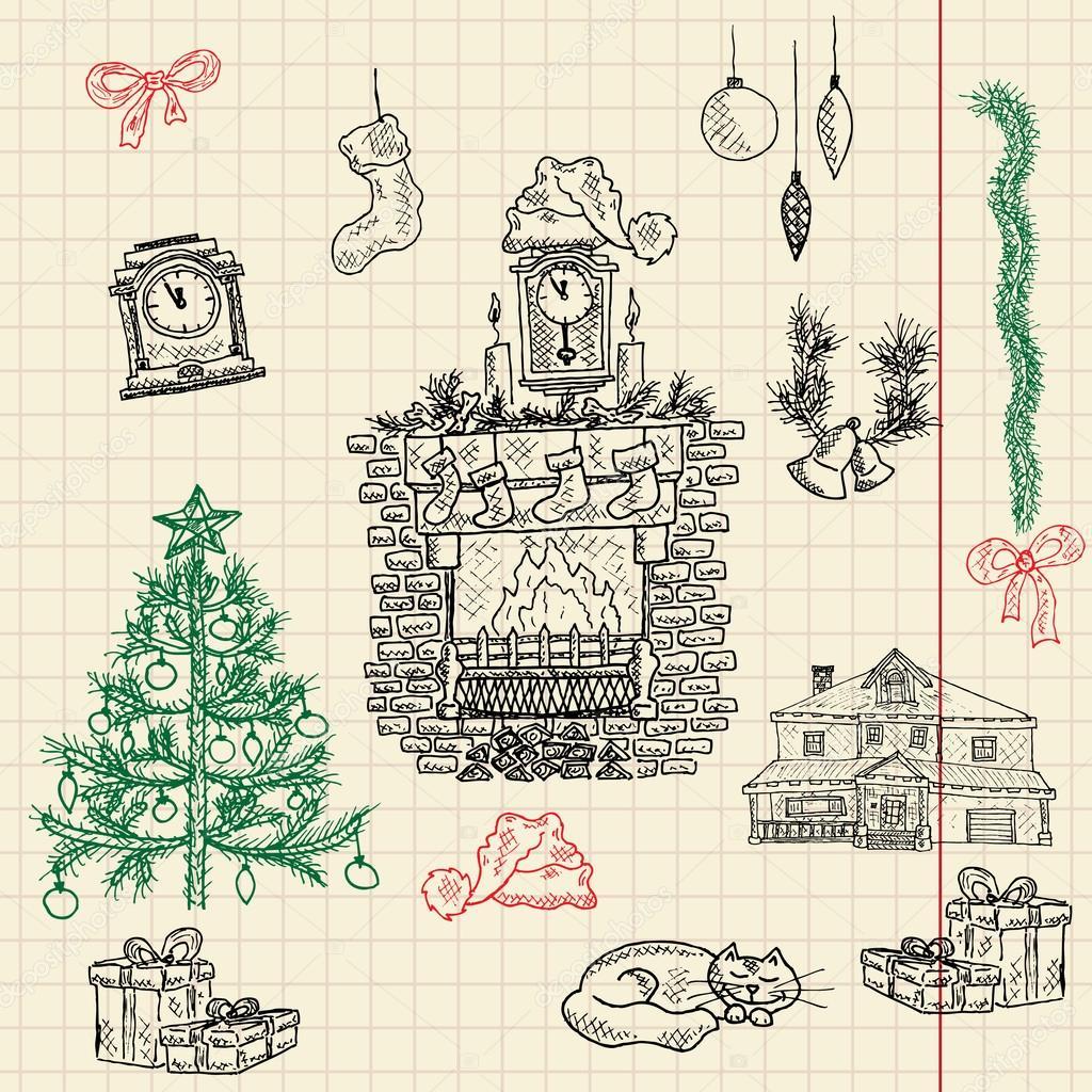 Set bestehend aus Weihnachtsbaum Weihnachten-Skizze — Stockvektor ...