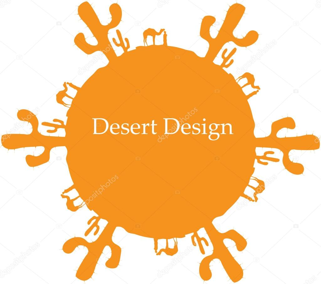 Desert sun, made of cactuses and camels