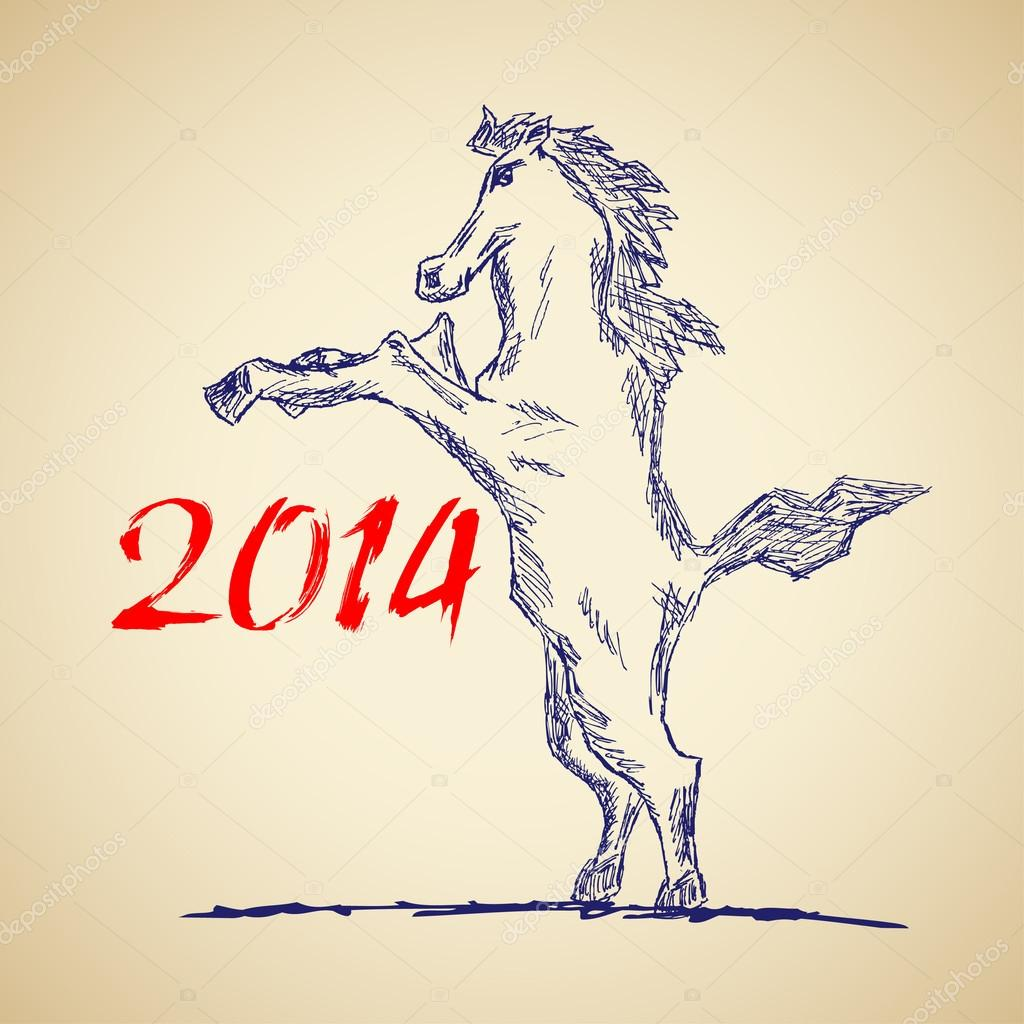 Funny Horse Sketch For Your Design Stock Vector C 1001 Holiday 43308555