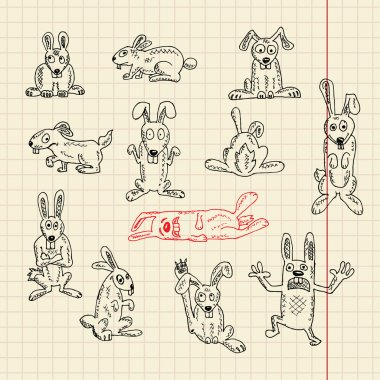 Set of funny rabbits in sketch style