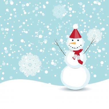 Winter scene, happy snowman
