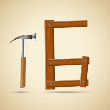 Wooden alphabet, number 6 and hammer