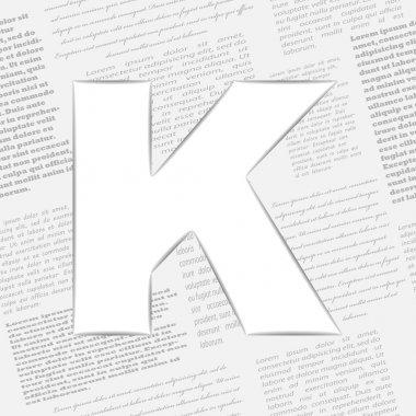 Vector letter K on seamless newspaper background