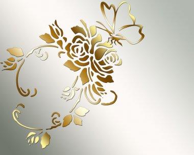"Картина, постер, плакат, фотообои ""Золотая Роза и бабочка."", артикул 23664609"