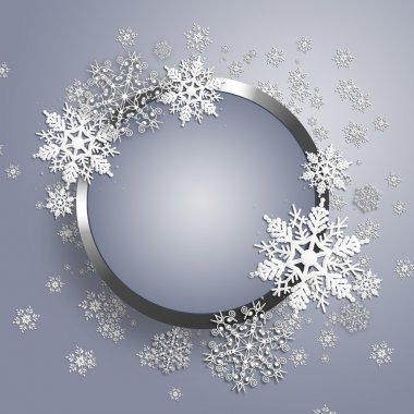 Christmas metal frame with snowflake.