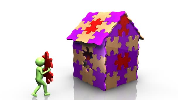 3D Man Achieving The Building Of His House U2014 Stock Video