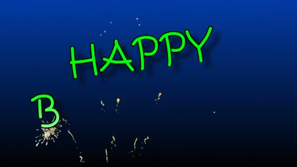 Happy Birthday Animation With Fireworks Stock Footage