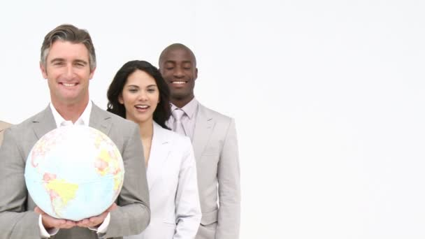 Casual business team at presentation — stock video.