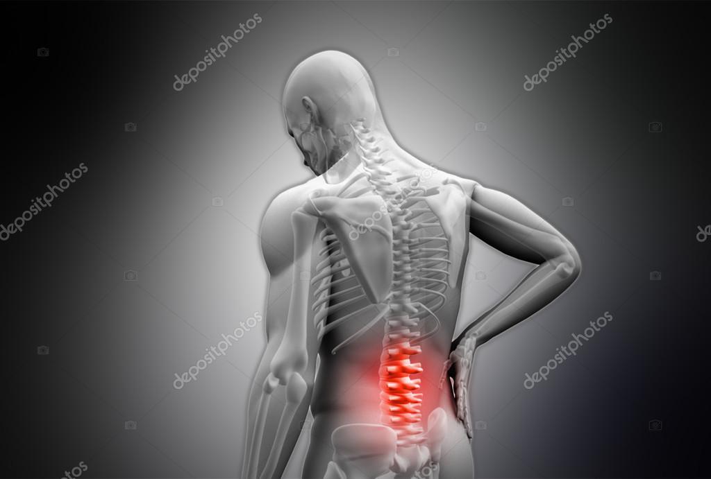 digitale graue Mensch reiben markierte rote Rückenschmerzen ...